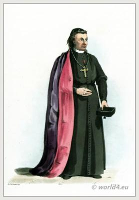 Traditional Portuguese Bishop costume. Ecclesiastical clothing. Purple mantle of silk, lined with crimson. Peninsula war.