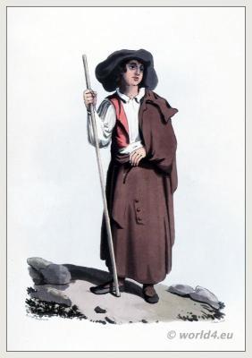 Traditional Portuguese costumes. Nisa Peasant clothing. The Peninsula War.