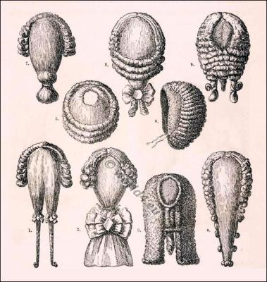 Allonge wigs. 18th century. Rococo fashion.