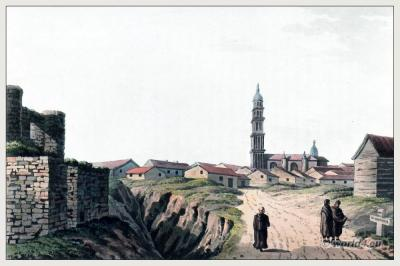 Old Landscape view of Alaejos, province of Valladolid, Castile and León. Topography. Steel engraving. The Peninsula War.