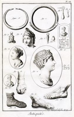 Roman artefacts. Roman Antiquities.jewelry hairstyle, footwear