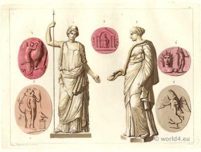 Ancient Greco Roman Culture. Antique Greek Roman deities costumes.