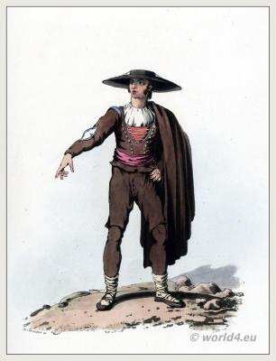 The Peninsula War. Traditional Spain costume. Men from Salamanca Clothing