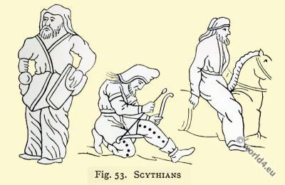 Ancient Scythian costume. Asian minor clothing.