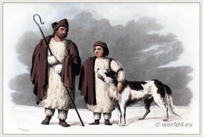 Traditional Spain shepards costume. Castile, Estremadura and León clothing. Bergers des plains de Léon. The Peninsula War