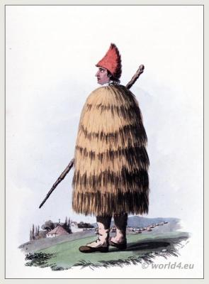 Traditional Peninsula costume. Spain, Portugal shepard in Straw Coat clothing
