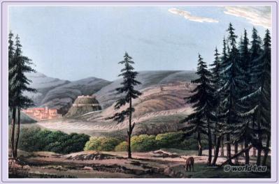 Historical Portugese landscape. Torres Vedras, Chief of a corregidoria, Lisbon. Peninsula war.