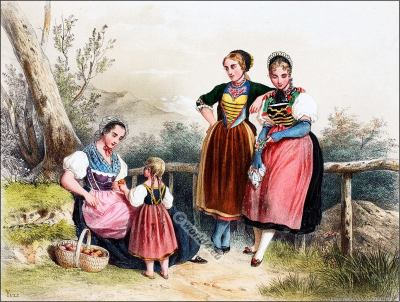 Traditional Switzerland national costumes. Swiss folk dresses. Clothing from the Cantons of Turgovie and Argovie.