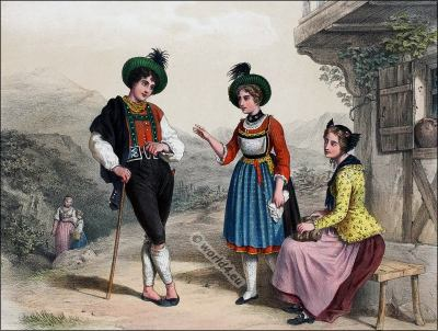 Traditional Switzerland national costumes. Swiss folk dresses. Clothing from the Canton of Grison and St. Galle
