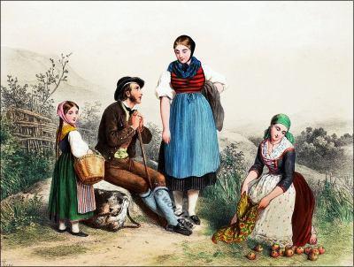 Tessin, Bale, Costumi nazionali svizzeri, Switzerland National Costumes, Suisse Costumes nationaux,