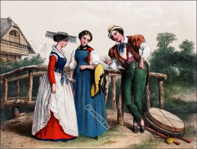Traditional Switzerland national costumes. Swiss folk dresses. Clothing from the Canton of Fribourg.