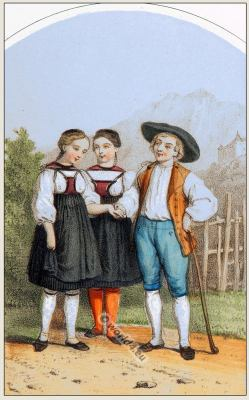 Traditional Switzerland national costume. Swiss folk dresses. Clothing from Canton of Berne.