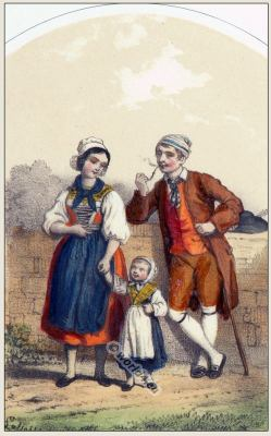 Traditional Switzerland national costumes. Swiss folk dresses. Clothing from Canton of  St. Gallen