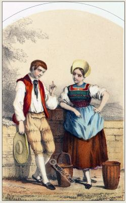 Traditional Switzerland national costumes. Swiss folk dresses. Clothing from Canton of Aargau