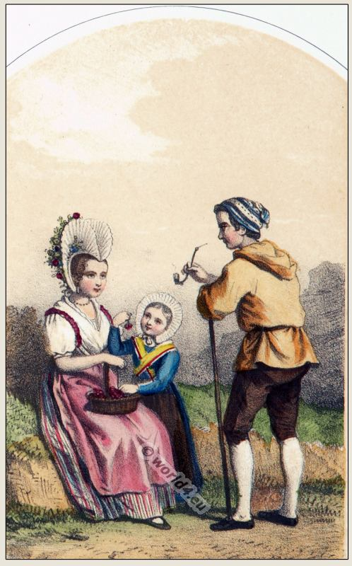 Traditional Switzerland national costumes. Swiss folk dresses. Clothing from the Canton of Schwytz.