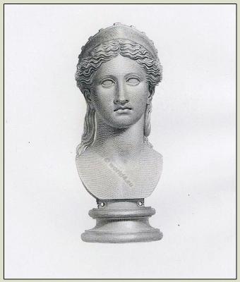 Ancient roman sculpture. Roman Juno. Roman costume history
