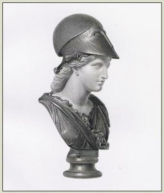 Minerva with helmet. Ancient Roman costume
