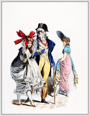 Merveilleuses Incroyables. French revolution costumes. Directoire fashion.