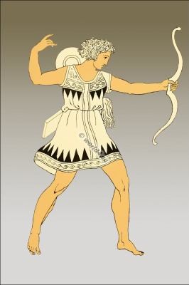 Amazon soldier. Ancient female warrior. Greek costume.