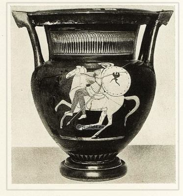 Amazon warrior on horse. Ancient Greece greek vase. Ancient soldiers
