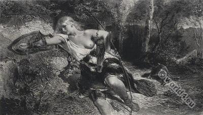 Amazone soldier. Ancient female warrior. Nanteuil, Célestin.