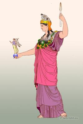 Pallas Athena of Phidias. Ancient Greek costume. Greece clothing himation and diplax.