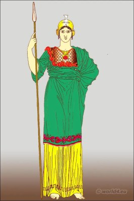 Ancient Greek costume female clothing. Pallas Athena with peplos or himation.