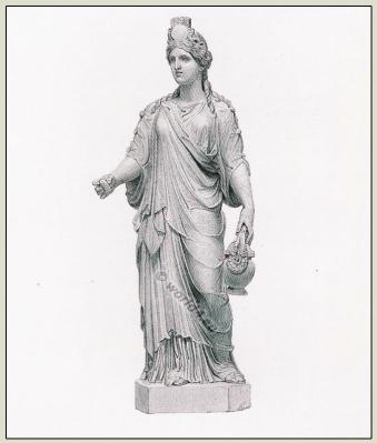 Ancient Roman fashion of the Antiquity. Tunica and hairstyle. Female Clothing in the ancient world