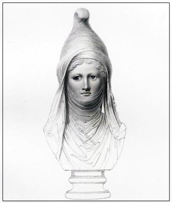 Ancient costumes. Persian head-dress Cidaris. Asiatic sculpture. Portrait Adonis. Bust Bacchus