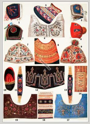 Embroidery designs, France, national costumes. Child clothing. traditional fabrics