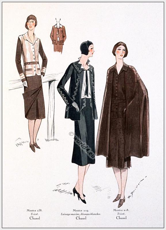 Coco Chanel Costumes 1930. French Art deco fashion. 1930s Haute couture.