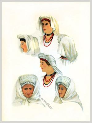 head dressings. Romanian folk costume. Romania national costumes. Traditional embroidery patterns