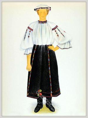 Romanian Târnava Sibiu folk costume. Romania Transylvania national costumes. Traditional embroidery patterns
