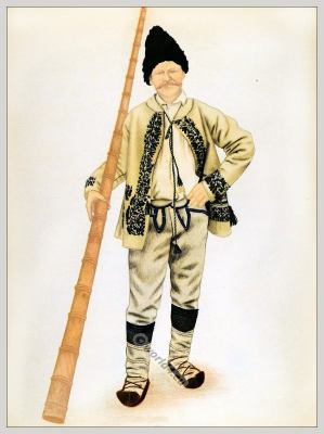 Romanian Turda, Țara Moților folk costume. Romania Transylvania national costumes. Traditional embroidery patterns
