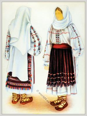 Romanian Hunedoara folk costume. Romania Transylvania national costumes. Traditional embroidery patterns