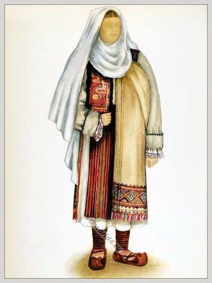 Romanian Hateg folk costume. Romania Transylvania national costumes. Traditional embroidery patterns