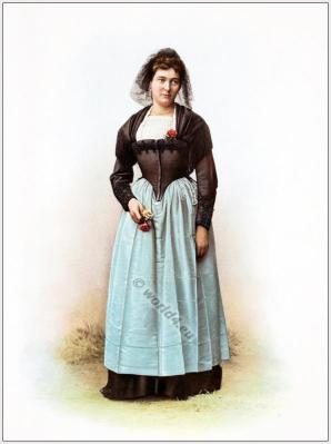 Traditional Switzerland national costume. Swiss folk dresses. Clothing from Canton of Berne