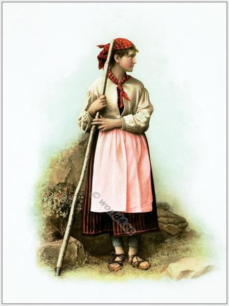 Traditional Switzerland national costume. Swiss folk costume. Canton, Uri Schächental clothing