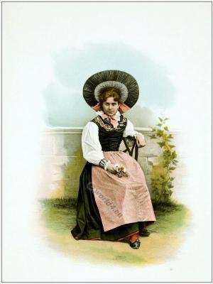 Traditional Switzerland national costume. Swiss folk costume. Clothing Canton of Thurgau