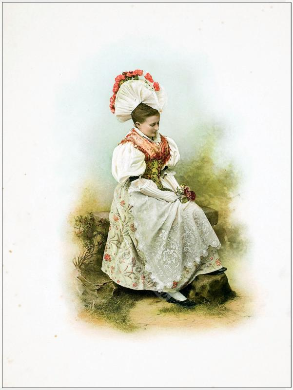 Traditional Switzerland national costumes. Swiss folk dresses. Clothing from the Canton of Schwyz.