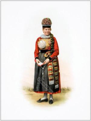 Traditional Switzerland costume. Swiss folk costume. Clothing Canton of Fribourg