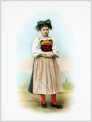 Traditional Switzerland national costumes. Swiss folk dresses. Clothing from the Canton of Aargau.