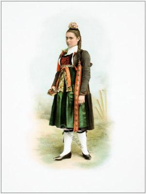 Traditional Switzerland costume. Swiss folk costume. Clothing Canton of Bern