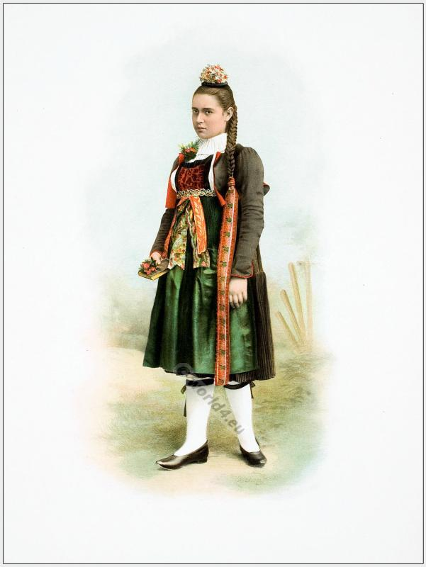 Traditional Switzerland national costume. Swiss folk dresses. Clothing Canton of Berne