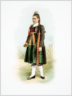 Traditional Switzerland costume. Swiss folk costume. Clothing Canton of Bern