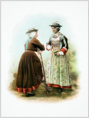 Traditional Switzerland national costumes. Swiss folk dresses. Clothing from the Canton of Wallis.