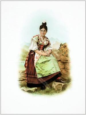Traditional Switzerland national costumes. Swiss folk dresses. Clothing from the Canton of Uri.