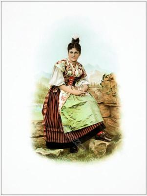 Switzerland national costumes. Suisse costumes nationaux. Uri Reusstal.