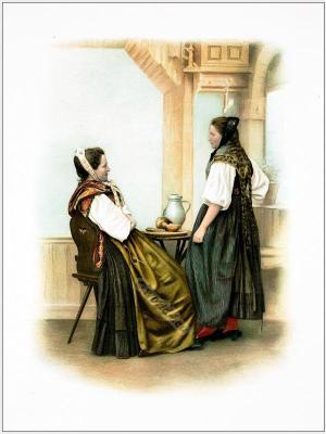 Basel, countryside clothing. Traditional Switzerland national costumes.