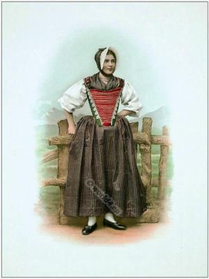 Traditional Switzerland national costumes. Swiss folk dresses. Clothing from the Canton of Appenzell